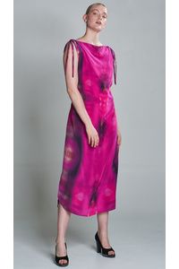 Fuchsia Long Summer Silk Dress