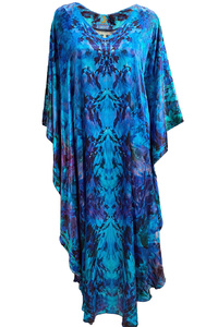 Floral Ocean Dream Silk Satin Kaftan