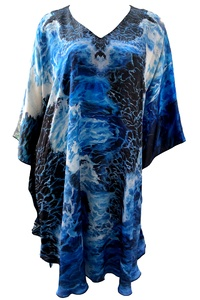 Watsons Bay Waves Silk Satin Midi Kaftan