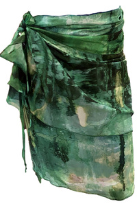 Coral Green (Mossy Cave) Silk / Cotton Wrap Skirt