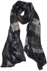 New York Silk Scarf Blue