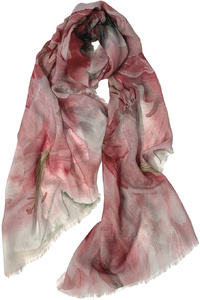 Pink Lilies Wool Scarf